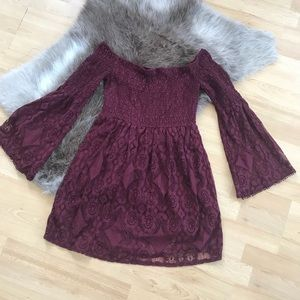 Burgundy Bell Sleeve Lace Dress